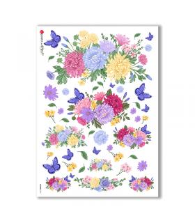 FLOWERS-0191. Papel de Arroz flores para decoupage.