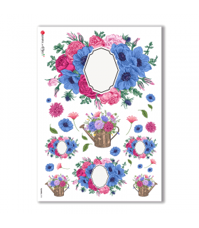 FLOWERS-0192. Papel de Arroz flores para decoupage.