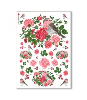 FLOWERS-0193. Carta di riso fiori per decoupage.