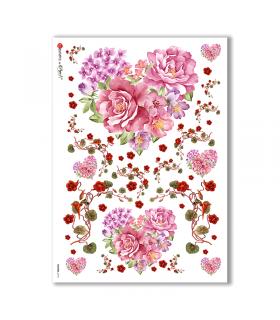 FLOWERS-0194. Carta di riso fiori per decoupage.