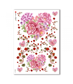 FLOWERS-0194. Papel de Arroz flores para decoupage.