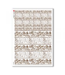 FLOWERS-0197. Carta di riso vittoriana fiori per decoupage.