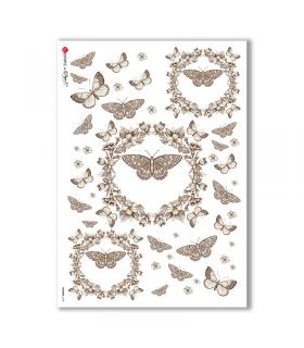 FLOWERS-0198. Carta di riso vittoriana fiori per decoupage.