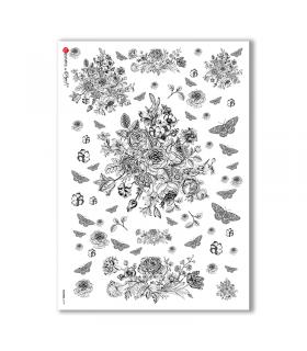 FLOWERS-0199. Carta di riso vittoriana fiori per decoupage.