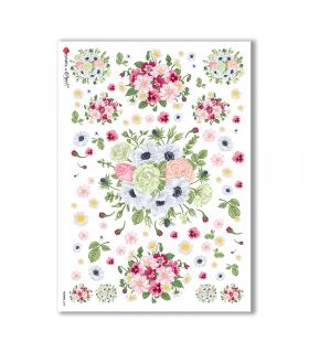 FLOWERS-0200. Papel de Arroz flores para decoupage.