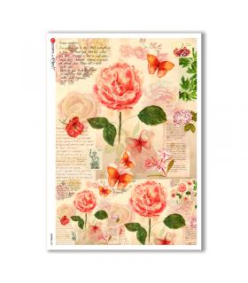 FLOWERS-0201. Carta di riso fiori per decoupage.