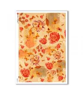 FLOWERS-0202. Carta di riso fiori per decoupage.