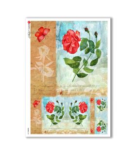 FLOWERS-0203. Carta di riso fiori per decoupage.
