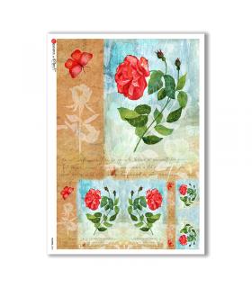FLOWERS-0203. Papel de Arroz flores para decoupage.