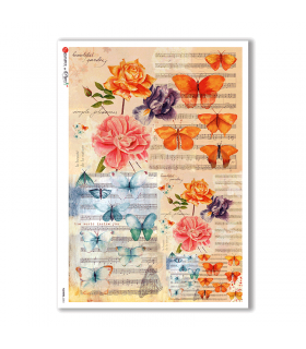 FLOWERS-0204. Carta di riso fiori per decoupage.