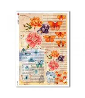 FLOWERS-0204. Papel de Arroz flores para decoupage.