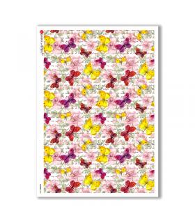 FLOWERS-0205. Carta di riso fiori per decoupage.