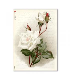 FLOWERS-0208. Carta di riso vittoriana fiori per decoupage.