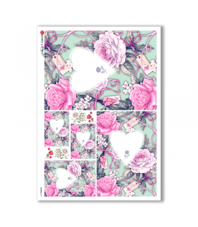 FLOWERS-0211. Carta di riso fiori per decoupage.