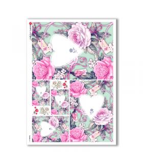 FLOWERS-0211. Papel de Arroz flores para decoupage.
