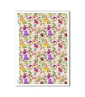 FLOWERS-0212. Papel de Arroz flores para decoupage.