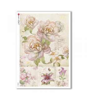 FLOWERS-0214. Papel de Arroz flores para decoupage.