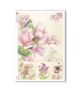FLOWERS-0215. Carta di riso fiori per decoupage.