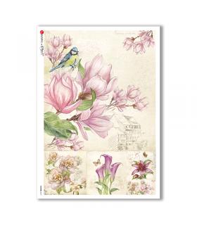 FLOWERS-0215. Papel de Arroz flores para decoupage.