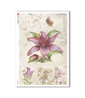 FLOWERS-0216. Papel de Arroz flores para decoupage.