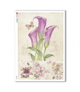 FLOWERS-0217. Carta di riso fiori per decoupage.