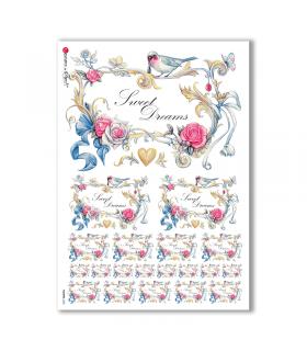 FLOWERS-0220. Carta di riso fiori per decoupage.