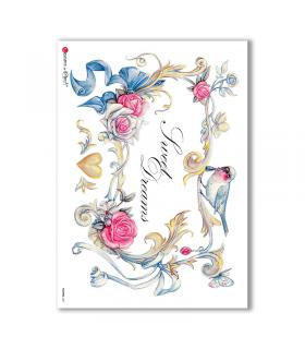 FLOWERS-0221. Papel de Arroz flores para decoupage.