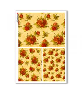 FLOWERS-0222. Papel de Arroz flores para decoupage.