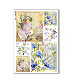 FLOWERS-0223. Carta di riso fiori per decoupage.