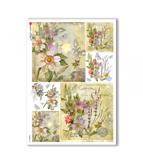 FLOWERS-0224. Carta di riso fiori per decoupage.