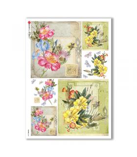 FLOWERS-0225. Papel de Arroz flores para decoupage.
