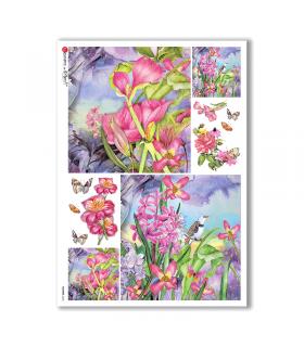 FLOWERS-0226. Carta di riso fiori per decoupage.