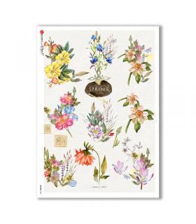 FLOWERS-0227. Carta di riso fiori per decoupage.