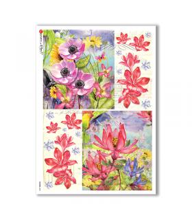 FLOWERS-0228. Papel de Arroz flores para decoupage.