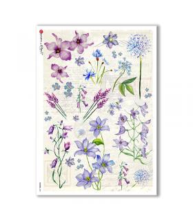 FLOWERS-0229. Papel de Arroz flores para decoupage.