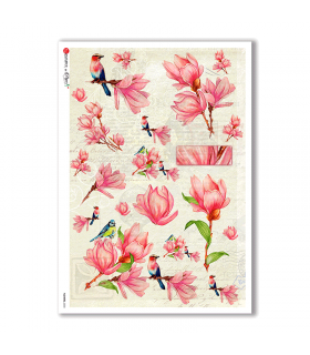 FLOWERS-0230. Carta di riso fiori per decoupage.