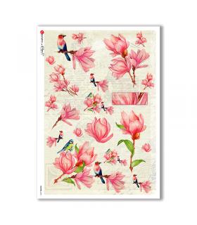FLOWERS-0230. Papel de Arroz flores para decoupage.