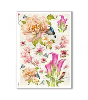 FLOWERS-0231. Papel de Arroz flores para decoupage.