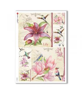 FLOWERS-0232. Papel de Arroz flores para decoupage.