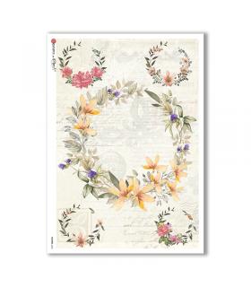 FLOWERS-0233. Papel de Arroz flores para decoupage.