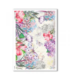 FLOWERS-0234. Carta di riso fiori per decoupage.