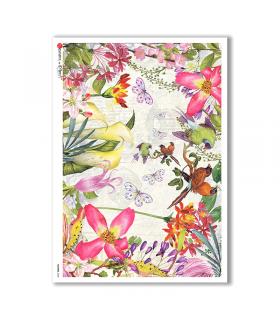 FLOWERS-0235. Papel de Arroz flores para decoupage.