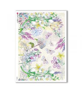 FLOWERS-0236. Carta di riso fiori per decoupage.
