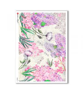 FLOWERS-0237. Carta di riso fiori per decoupage.