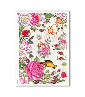 FLOWERS-0238. Papel de Arroz flores para decoupage.