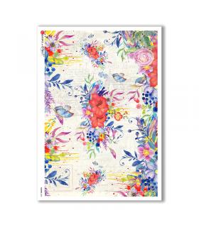 FLOWERS-0239. Papel de Arroz flores para decoupage.