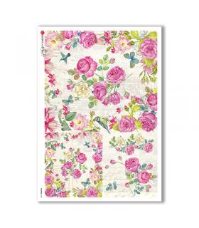 FLOWERS-0240. Papel de Arroz flores para decoupage.