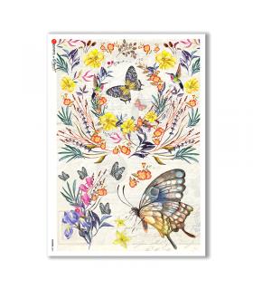 FLOWERS-0241. Carta di riso fiori per decoupage.