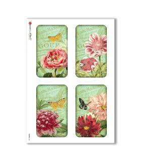 FLOWERS-0242. Carta di riso vittoriana fiori per decoupage.