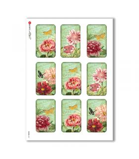 FLOWERS-0243. Carta di riso vittoriana fiori per decoupage.